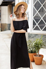 Off-the-Shoulder Maxi Dress Front View