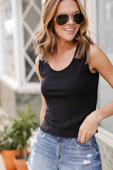 Model wearing a Ribbed Cropped Tank