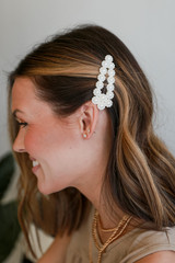 Model wearing a Pearl Hair Clip