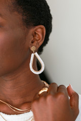 Model wearing Beaded Teardrop Earrings