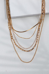 Gold - Rhinestone Chain Layered Necklace from Dress Up