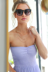 Dress Up model wearing a Gold Rhinestone Chain Layered Necklace