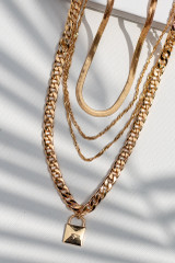 Gold - Layered Lock Necklace from Dress Up
