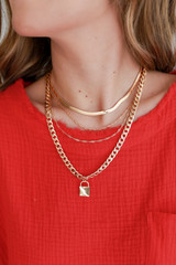 Model wearing a Gold Layered Lock Necklace