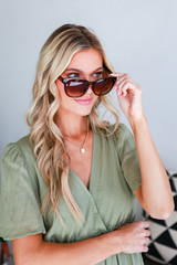Model wearing Square Sunglasses in Tortoise
