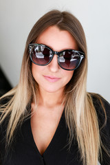 Model wearing Square Sunglasses in Black