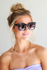 Black - Model wearing Square Sunglasses