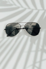 Polarized Aviator Sunglasses in Black on a white background