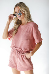Linen Shorts in Blush Side View