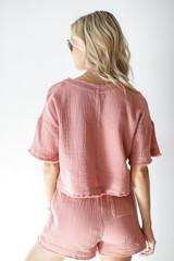 Linen Shorts in Blush Back View
