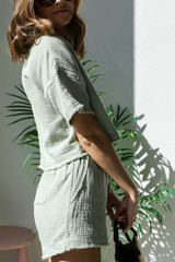 Linen Shorts in Sage Side View