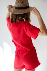 Linen Shorts in Red Back View