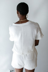 Linen Shorts in White Back View