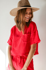 Red - Model wearing a Linen Mid Crop Top with a straw hat