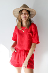Red - Dress Up model wearing a Linen Mid Crop Top with a straw hat