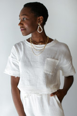 White - Linen Mid Crop Top Front View