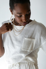 White - Linen Mid Crop Top Front View on model