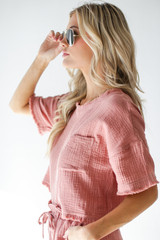 Linen Mid Crop Top in Blush Side View