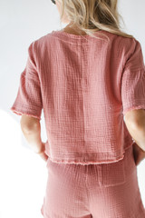 Linen Mid Crop Top in Blush Back View