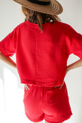 Linen Mid Crop Top in Red Back View