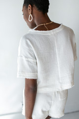 Linen Mid Crop Top in White Back View