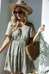 Olive - Model wearing a Tired Babydoll Dress