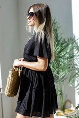 Tired Babydoll Dress in Black Side View