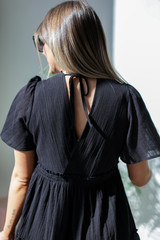 Tired Babydoll Dress in Black Back View