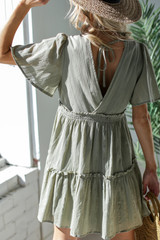 Tired Babydoll Dress in Olive Back View
