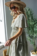 Tired Babydoll Dress in Olive Side View