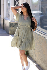 Tired Babydoll Dress in Olive Front View