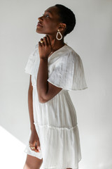 Tired Babydoll Dress in White Side View