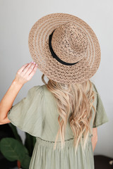 Taupe - Model wearing a Straw Fedora Hat