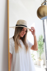 Dress Up model wearing a Straw Fedora Hat in Ivory