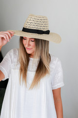 Straw Fedora Hat in Ivory Front View
