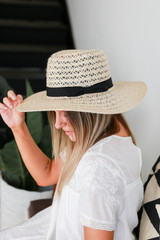Straw Fedora Hat in Ivory Side View
