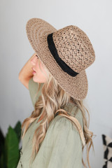 Straw Fedora Hat in Taupe Side View
