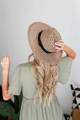 Straw Fedora Hat in Taupe Back View