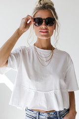 White - Ruffled Crop Tee