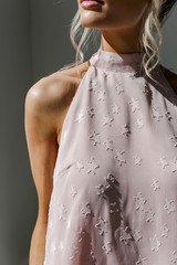 Close Up of a Sleeveless Top in Blush