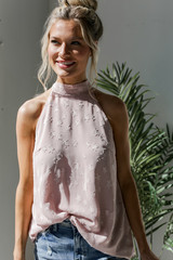 Model wearing a Star Sleeveless Top in Blush