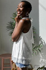 Sleeveless Top in Ivory Side View