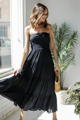 Black - Smocked Maxi Dress