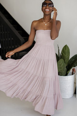 Taupe - Model wearing a Smocked Maxi Dress
