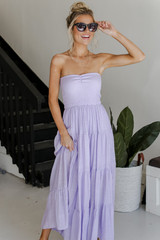 Lilac - Model wearing a Smocked Maxi Dress with sunglasses