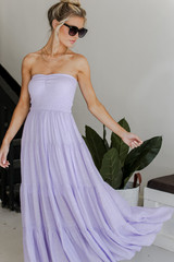 Lilac - Dress Up model wearing a Smocked Maxi Dress with sunglasses