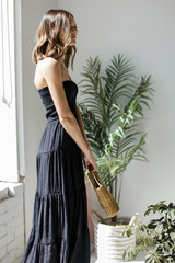 Smocked Maxi Dress in Black Side View