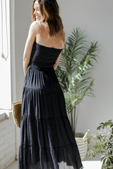 Smocked Maxi Dress in Black Back View