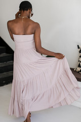 Smocked Maxi Dress in Taupe Back View