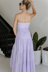 Smocked Maxi Dress in Lilac Back View